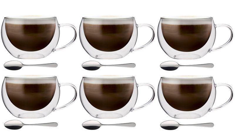 Szklanki Termiczne Kawa Cappuccino Herbata 300 ml z Łyżeczkami 6 sztuk zdjęcie 1