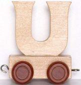 Wagonik z literką U - LITERKA element z układanki ALFABET POCIĄG