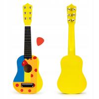 Gitara dla dzieci drewniana metalowe struny kostka- żółta