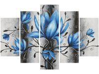 Obraz druk Stalowe Magnolie kwiaty niebieskie