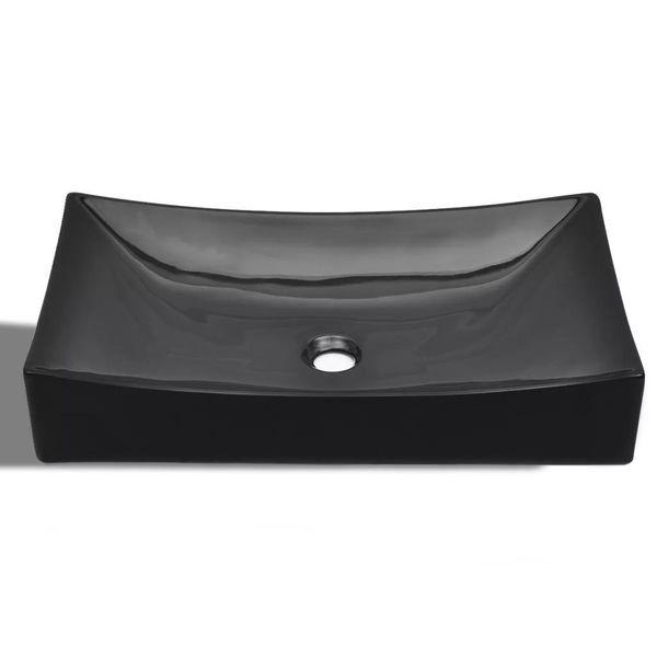 Umywalka Ceramiczna Prostokątna Czarna zdjęcie 4