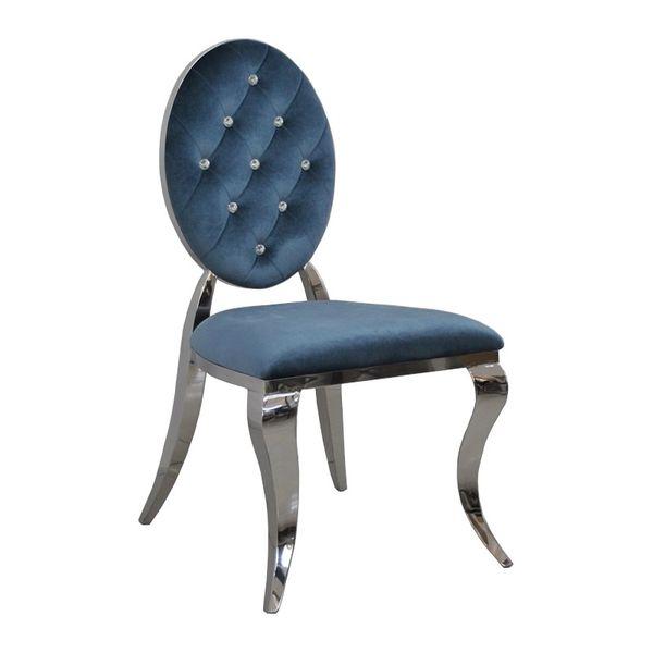 Krzesło Ludwik II glamour Blue krzesła pikowane kryształkami zdjęcie 3