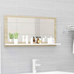 Lumarko Lustro łazienkowe, biel i dąb sonoma, 80x10,5x37 cm, płyta