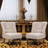 Fotele francuskie, 2 szt, kremowe, materiałowe