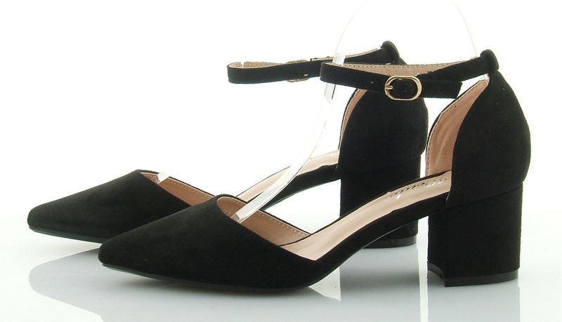 ce263f1d8b8d9c Czółenka sandały zamszowe na słupku 6 cm. pasek czarne 39 • Arena.pl