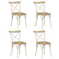 Krzesła do jadalni, krzyżowe, 4 szt., białe, lite drewno mango
