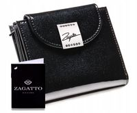 Mały skórzany portfel damski ZAGATTO RFID czarny