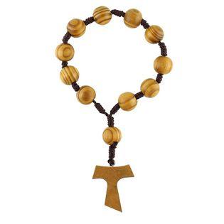 Drewniany różaniec dziesiątka z krzyżem TAU