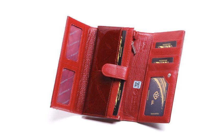 Portfel skórzany damski Zagatto czerwony w liście RFID ZG-102 Leaf zdjęcie 5