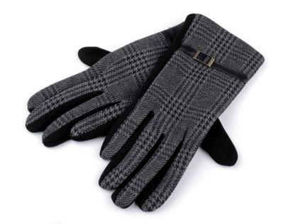 Rękawiczki damskie z dzianiny krata ciemna roz. L