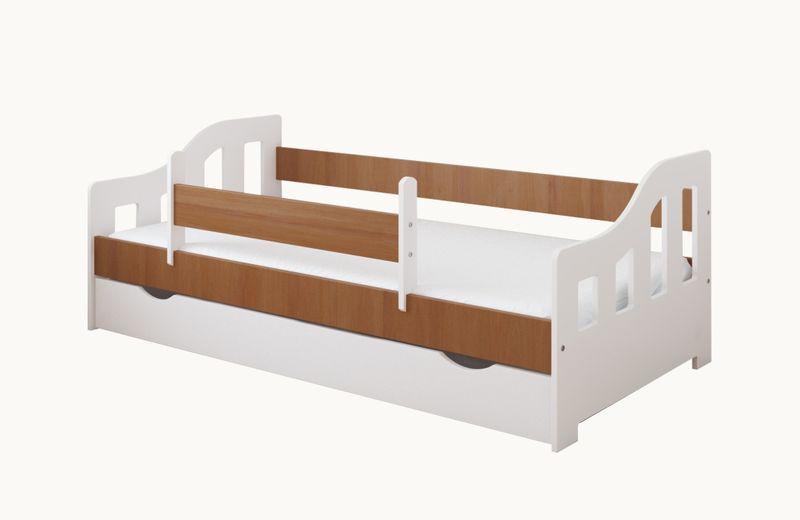 Łóżko LUCKY 140 x 80 szuflada + ruchoma barierka ochronna + MATERAC na Arena.pl