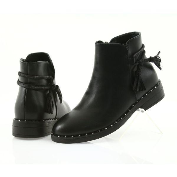Czarne botki damskie płaskie z frędzlami YS476 40