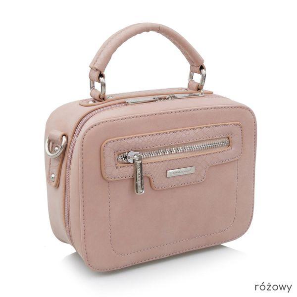 DAVID JONES torebka damska listonoszka kuferek kroko V380 różowa zdjęcie 1