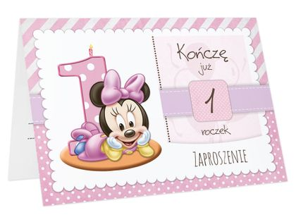Zaproszenia na PIERWSZE URODZINY roczek dziecka +koperta (ZR-myszka)