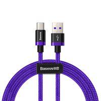 Baseus Purple Gold Red kabel przewód w nylonowym oplocie USB / USB-C SuperCharge 40W Quick Charge 3.0 QC 3.0 1M fioletowy (CATZH-A05)