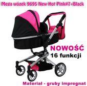 Mega Wózek Wielofunkcyjny Dla Lalek - 16 FUNKCJI Kolor - Czarny
