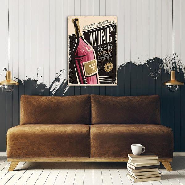 Obraz na metalu, Retro – wino 30x40 zdjęcie 3