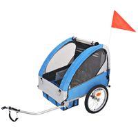 Rowerowa przyczepka dla dzieci, szara i niebieska, 30 kg