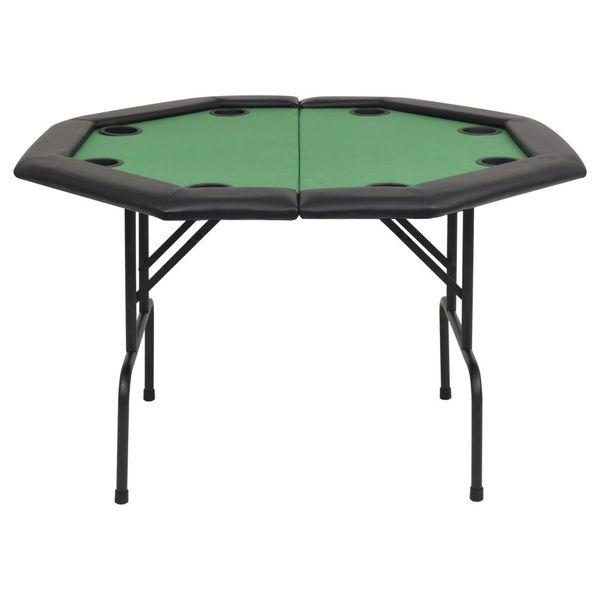 Składany stół do pokera dla 8 graczy, ośmiokątny, zielony zdjęcie 4