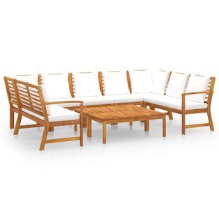 Lumarko 9-cz. zestaw wypoczynkowy do ogrodu, poduszki, drewno akacjowe;
