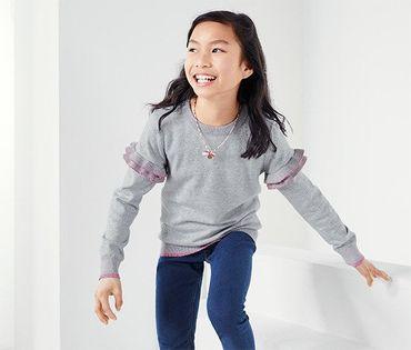 TCHIBO Sweter Dziewczęcy 110-116 cm, 5-6 lat Szary 5-6 lat
