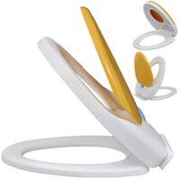 Biało-Żółta, Wolnoopadająca Deska Sedesowa Dla Dzieci I Dorosłych