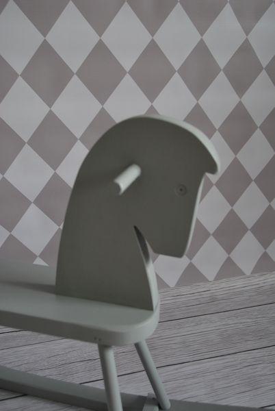 Drewniany konik na biegunach Kolor - biały zdjęcie 4