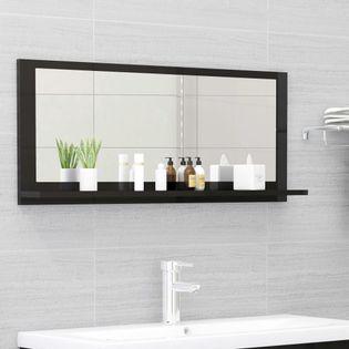Lumarko Lustro łazienkowe, wysoki połysk, czarne, 90x10,5x37 cm, płyta