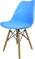 Skandynawskie krzesło KRIS FIORD z krzyżakiem niebieskie BUKOWE NOGI