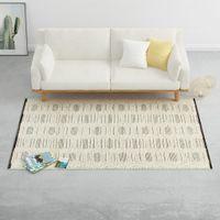 Dywan ręcznie tkany, wełna, 160x230 cm, biały/czarny