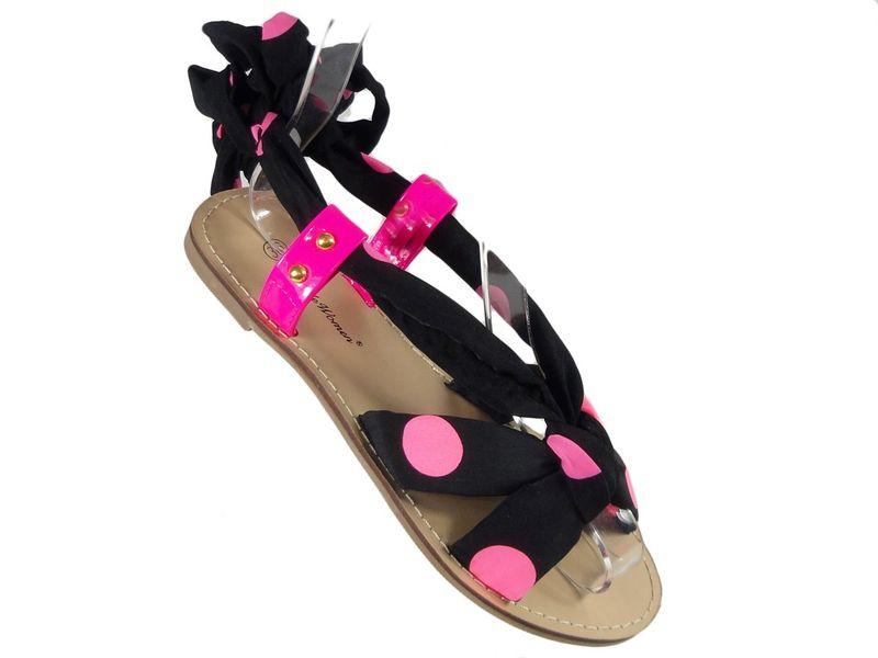 Czarno różowe sandały damskie z wstążką 39