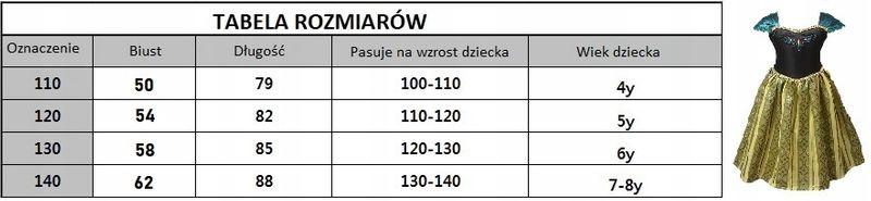 SUKIENKA ANNA PRZEBRANIE STRÓJ KRAINA LODU 134/140 na Arena.pl
