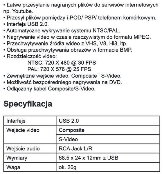 Video-Grabber USB przechwytywanie video Cabletech URZ0192 zdjęcie 5