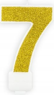 Świeczka na tort cyferka 7 złota brokatowa