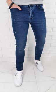 Ciemne jeansy meskie slim fit z delikatnymi przetarciami B-399 Premium - 30