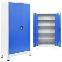 Szafa biurowa, metalowa, 90 x 40 x 180 cm, szaro-niebieska