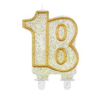 Świeczka 18 złota brokatowa na osiemnaste Urodziny