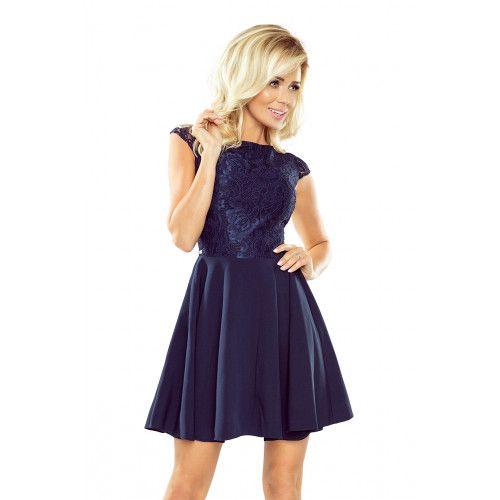 Sukienka MARTA z koronką - GRANATOWA XL zdjęcie 1