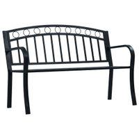 Ławka ogrodowa, 125 cm, czarna, stalowa