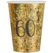 Kubeczki papierowe 60 URODZINY złote HOLO 10 szt