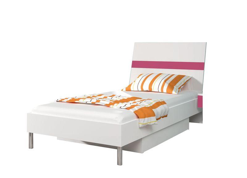 Białe łóżko Młodzieżowe Raj 1 90x200 Materac 8 Kolorów Do Wyboru