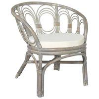 Lumarko Krzesło stołowe z poduszką, szary naturalny rattan i len!