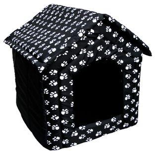 Legowisko buda z materiału dla psa kota czarna w łapki r.2