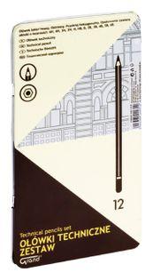 Ołówki techniczne GRAND metalowe pudełko - zestaw 12 szt.