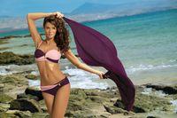 Kostium Kąpielowy Liliana Vigneto-Rosa Confetto M-259 Bakłażan Z Lekkim Różem (14) Rozmiar Xl/xxl