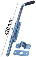 Rygiel do bramy, ocynkowany, długość 420 mm, podstawa szerokości 37 mm