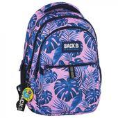 Plecak szkolny młodzieżowy BackUP w niebieskie liście, MONSTERY PINK (PLB2N20)