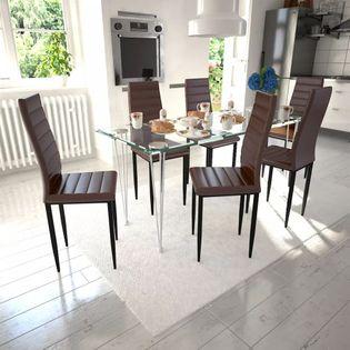 Krzesła do jadalni, 6 szt., smukła linia, brązowe