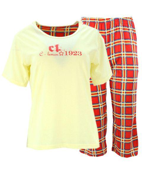 e0660733b016bf Piżama damska z napisami i spodniami w kratę (żółta) Rozmiar - XXL zdjęcie 1