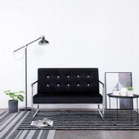 2-osobowa sofa z podłokietnikami, czarna, chrom i aksamit
